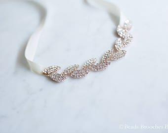 Adult Rose Gold Bracelet,Rose Gold Wedding Jewelry Bracelet,Wedding Bracelet,Bridesmaid Gift,Rose Gold Leaf Bracelet,Rhinestone Bracelet