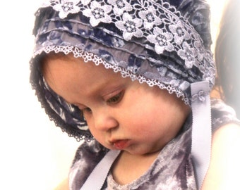 Silk velvet  bonnet -- baby bonnet, Easter bonnet, infant hat, photo prop, velvet hat, special occasion baby hat, christening bonnet