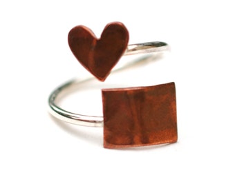 Colorado State Twist Ring (Sterling Silver & Copper Place State Love Map Ring)