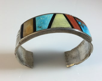 REDUCED Zuni Cuff with Inlaid Turquoise, Red Coral, Native American, Turquoise Cuff, Turquoise Bracelet, Gift, Etsy Jewelry,