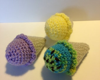 Set of 3 handmade crochet mini ice creams great for childrens creative role play or just looking pretty!