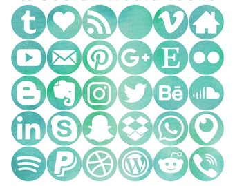 30 Social Media Icons - Seafoam Watercolour - Smooth Bleb shape - 3 sizes - PNG files