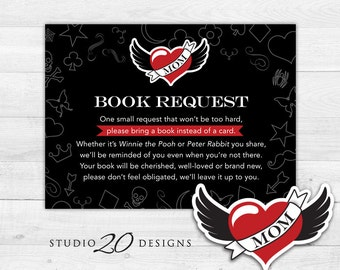 Instant Download Winged Heart Tattoo Book Request, Rockabilly Book in Lieu of Card, Rock n Roll Black Baby Shower Book Instead of Card 28A