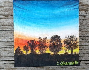 Free shipping US Sunrise painting Small painting Landscape painting Acrylic painting