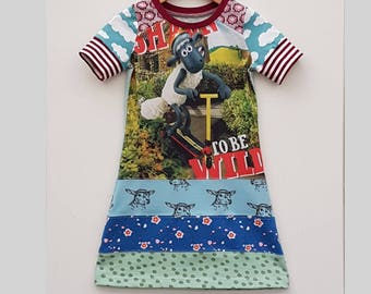 Size 5T upcycled girls clouds dress, girls clothing, shaun the sheep ,kidsclothes, kidswear, girl, girls dress, upcycling, sheep