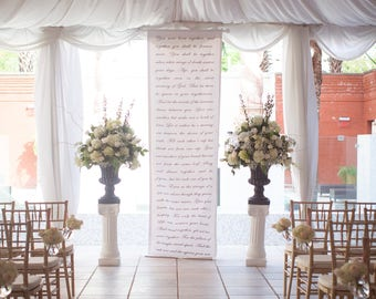 Handwritten calligraphy style wedding ceremony backdrop aisle runner for your altar with vows, love poems and love songs