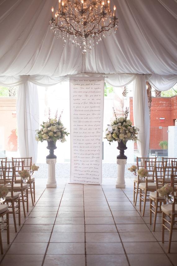 Handwritten Calligraphy Style Wedding Ceremony Backdrop Aisle