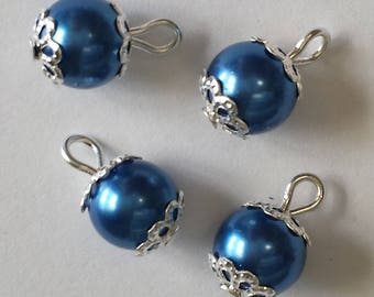 5 pendants 8mm Navy blue glass pearl beads