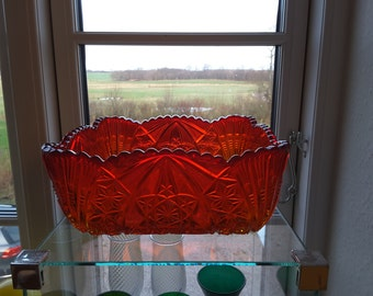 Unusual Brockwitz Square Bowl Antique Ruby Red Curved Star Pressed Glass. Made in Germany.