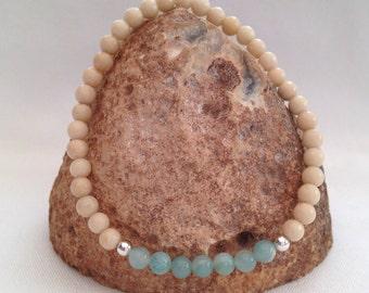 Fossil Jasper and Amazonite bracelet, Fossil bracelet, girlfriend gift, small bead bracelet, sister gift, sand and sea, beach, turquoise