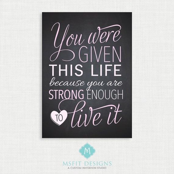 Life Poster - Inspirational Poster - Chalkboard Print  5x7