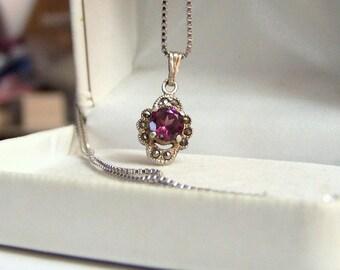 Marcasite Detailed Sterling & Genuine Rhodolite Garnet Gemstone Pendant Necklace Altered Authentic Vintage