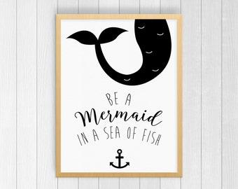 Mermaid Art, Mermaid Wall Print, Mermaid Decor, Mermaid Print, Birthday Gift, Home Decor, Office Decor, Gift for Her, 8x10, 11x14, 11x17