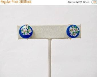 ON SALE Vintage Blue Floral Earrings Item K # 2575