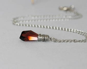Swarovski Crystal Necklace Sterling Silver Necklace Swarovski Necklace Swarovski Jewelry Ruby Pendant Wire Wrapped Crystal Drop Necklace