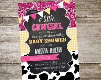 Western Baby Shower Invitation. Bandana Baby Shower Invitation. Cowgirl Baby Shower Invitation. Customized 5x7 Printable Invitation DIY