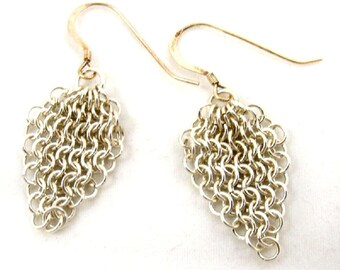 Silver Chainmaille Earrings, Lacy Sterling Chainmail Jewelry Handmade
