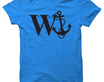 W Anchor Funny Captains Ship T-shirt Mens & Ladies Boat Gag Gift Present New comedy Tee 2015