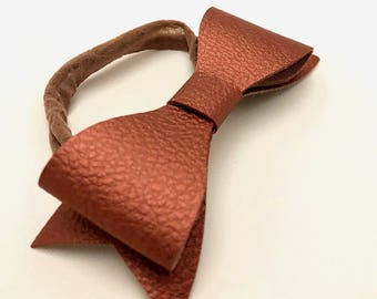 Faux Leather Bows, Baby Headbands, Baby Hair Bows, Leather Bows, Baby Accessories
