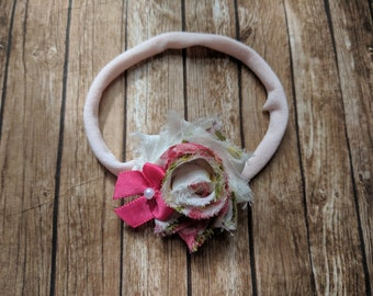 Pink floral shabby flower with satin flower