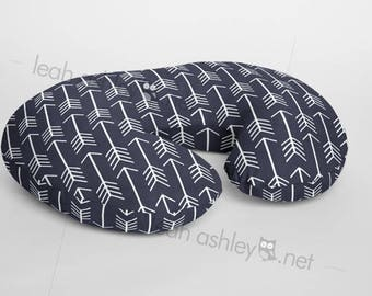 Boppy® Cover, Nursing Pillow Cover - Navy Arrows Minky - BC1