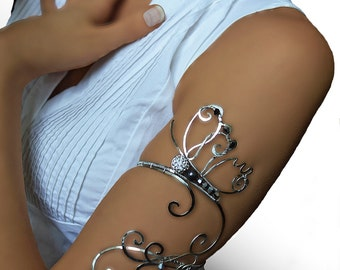 Beauty gift Upper arm cuff,  silver jewelry, copper jewelry, bride, wedding jewelry, butterfly, Jewelry, arm bracelet, , arm cuff, armlet