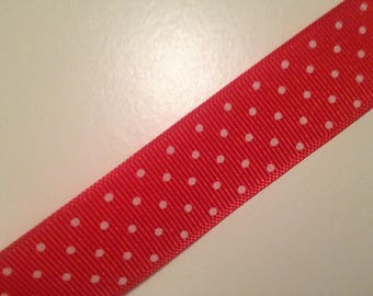 "7/8"" Red Polka Dot Grosgrain Ribbon"