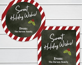 Sweet Holiday Wishes Treat Labels, Christmas Labels, Christmas Cookies Stickers, Candy Cane Labels (#580)