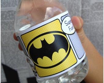 Superhero Collection. Water Bottle Labels. DIGITAL DOWNLOAD. DiY Printable Design. Pinkadot Shop