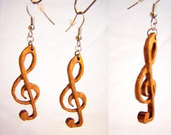"""Earrings made of oak ' clef ' """""""