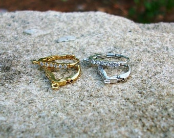 Beautiful leverback earring finding with cubic zirconia, leverbacks, earring finding with cz