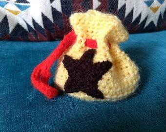 Crochet Drawstring Bell Bag from Animal Crossing