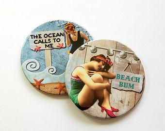 Beach Coasters, Beach Decor, Coasters, Drink Coasters, Hostess Gift, Beach Lover, Summer Vacation, Barware, Beach Bum (5036b)