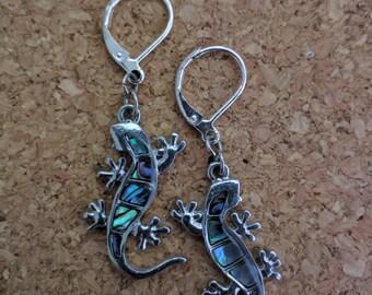 Lizard Gecko Shell-Filled Earrings