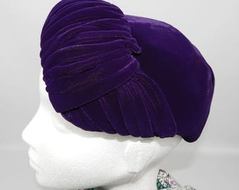 1950's Purple Velour and Feather Hat