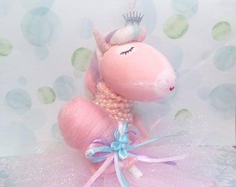 Unicorn doll pink cotton candy cake topper pink unicorn ballerina art doll pastel party decor unicorn centerpiece pastel