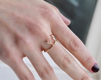Antler Ring - Dainty Antler Ring - Antler Jewelry - Deer Ring - Silver Antler Ring - Gold Ring - Anniversary Ring - Mothers Day Gift