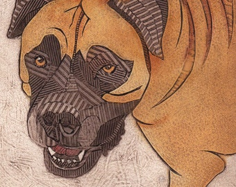 Rottweiler and or Mastiff Mix, Original Collograph, Dog Print - Precious 2