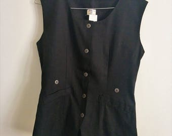 80s 90s Styled Black Vest The Heathers Metal Buttons Winona Ryder