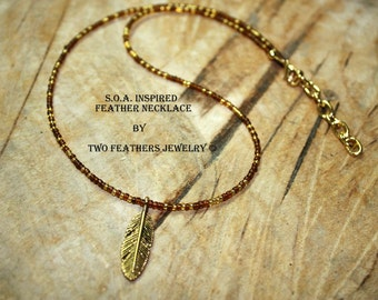 SOA Inspired Gold Feather Necklace - Brown And Gold - Sons Of Anarchy Inspired Tara Necklace - Biker Jewelry - Beaded Necklace - For Her