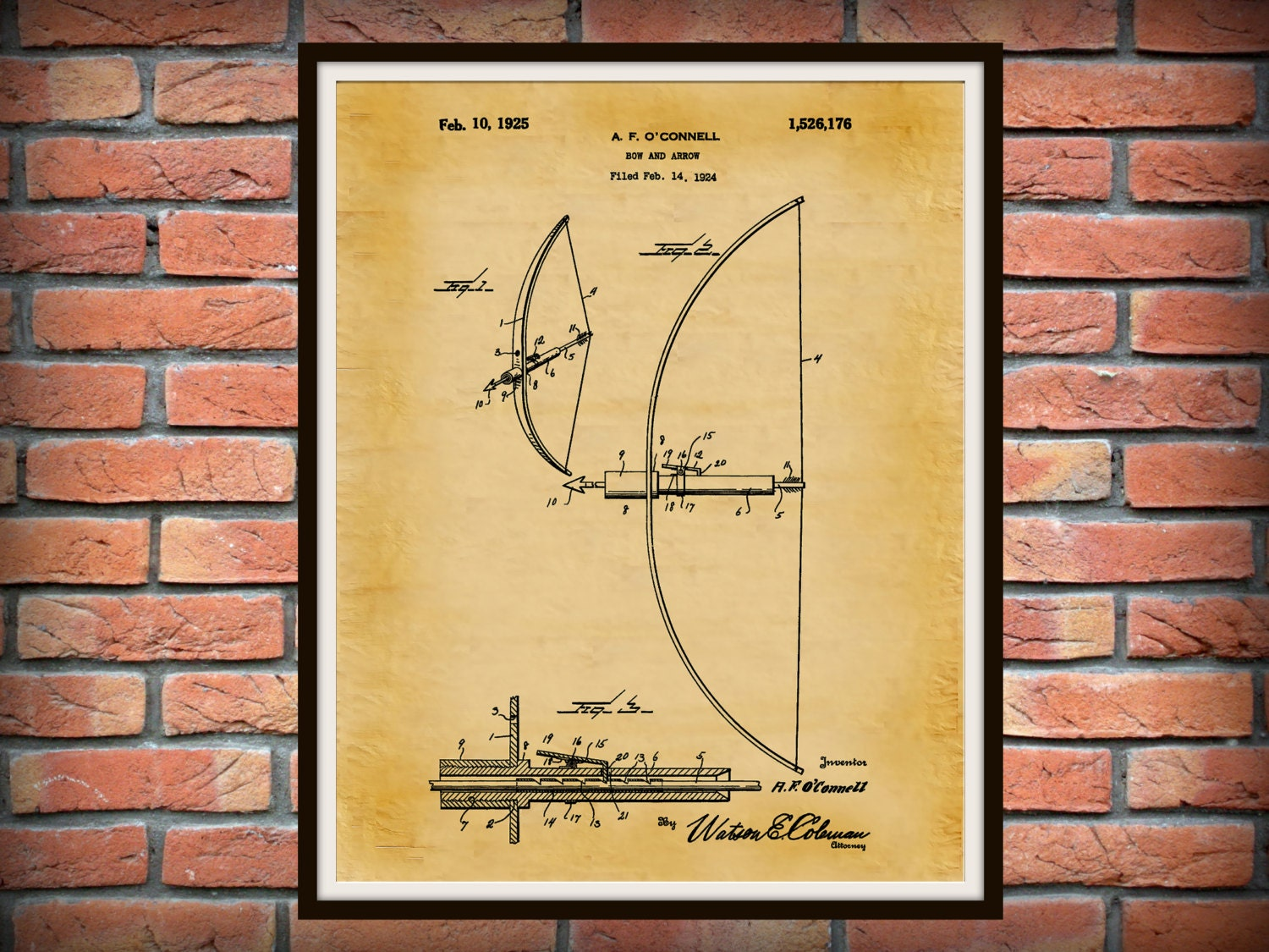 Patent 1925 Bow and Arrow - Art Print - Poster - Wall Art - Archery ...