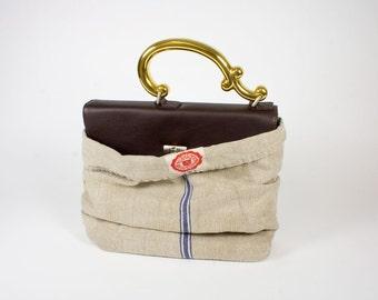 Lederhandtasche mit Porzellangriff Dockerhandbag LE brown