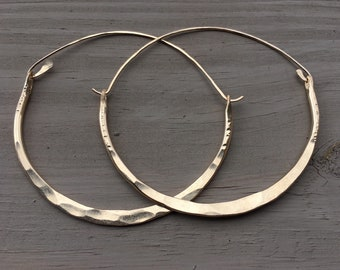 Gold Hoop Earrings Large Hoops Hammered Hoops DanielleRoseBean large Hoop Earrings Gold Hoops Big Gold Hoop Earrings