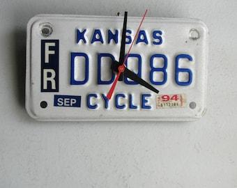 Kansas Motorcycle License Tag Clock