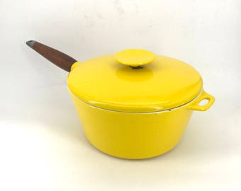 Michael Lax Copco Yellow and Teak Lidded Pot Vintage 1960s Mid-Century Chef Cook