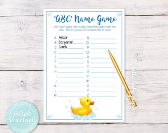 Baby Name Game, Name Game, Baby Shower Ideas, Rubber Duck Baby Shower Theme, Ducky Baby Shower, Baby Shower - 0004-B