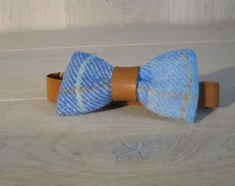 Harris Tweed Bow Tie, Wool bow tie with leather detail, Wedding bow tie, groomsman bowtie - Blue Ocean