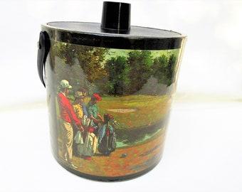 Vintage Ice Bucket | Irvinware | Vinyl Ice Bucket | Golf Decor | Midcentury Barware | Insulated Ice Bucket