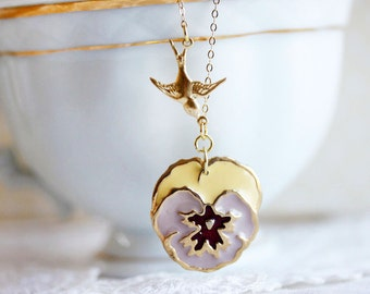Pansy Necklace Pansy Pendant with Gold Bird Pansy Jewelry For Mom