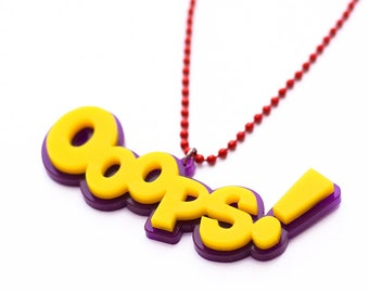 "Comic Necklace ""OOOPS"" // Exclamation // Theme Party"